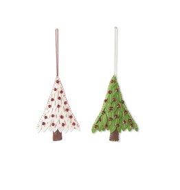 "K & K Interiors 6"" Felt Christmas Green/Red Tree Ornament 2"