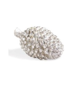 "K & K Interiors 6"" Poly Silver Pinecone"