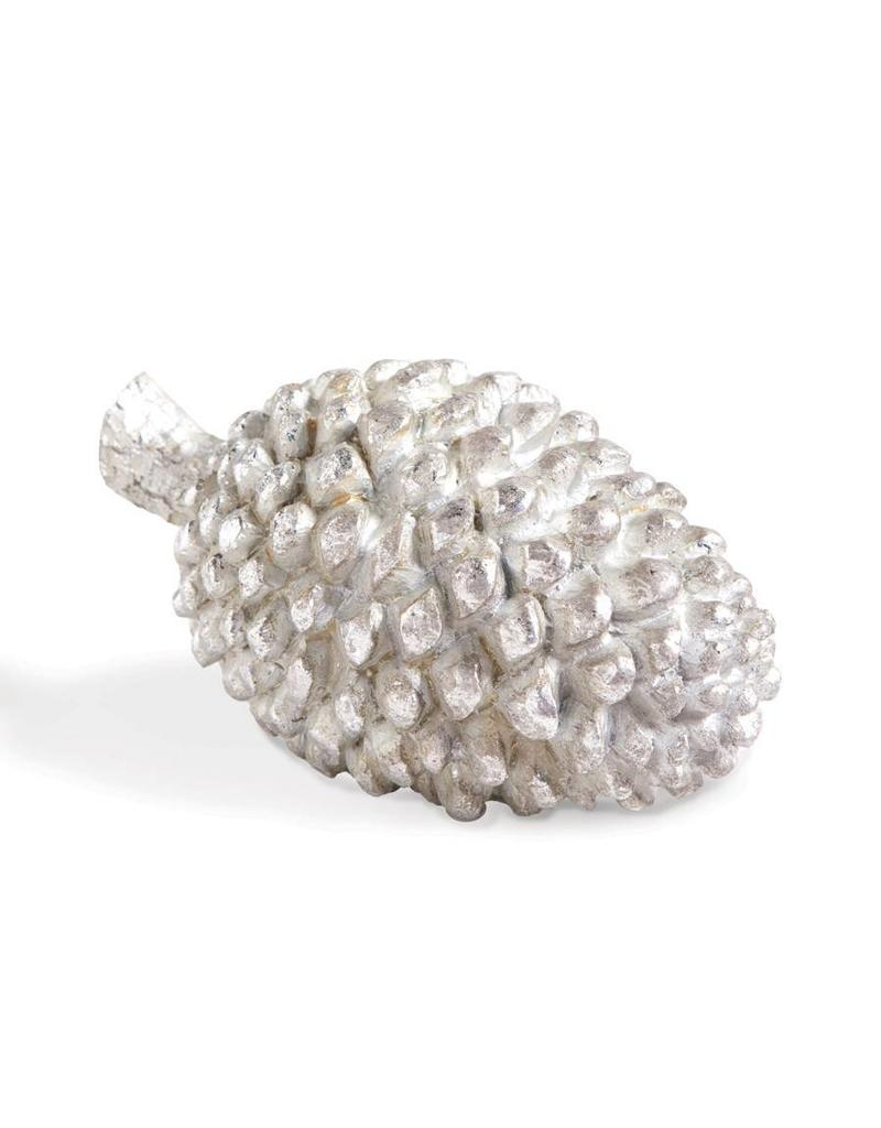 "K & K Interiors 7"" Poly Silver Pinecone"
