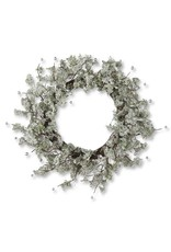 "K & K Interiors 24"" Green Glittered Wreath w/ Silver Beads"