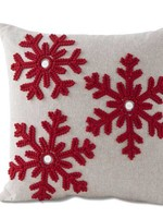 """K & K Interiors 14.5"""" Square Grey Canvas Pillow w/ Red Snowflakes & Buttons"""
