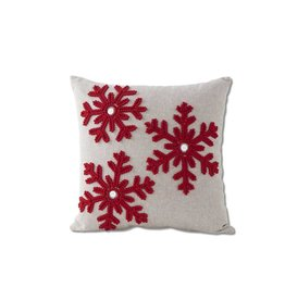 "K & K Interiors 14.5"" Square Grey Canvas Pillow w/ Red Snowflakes & Buttons"