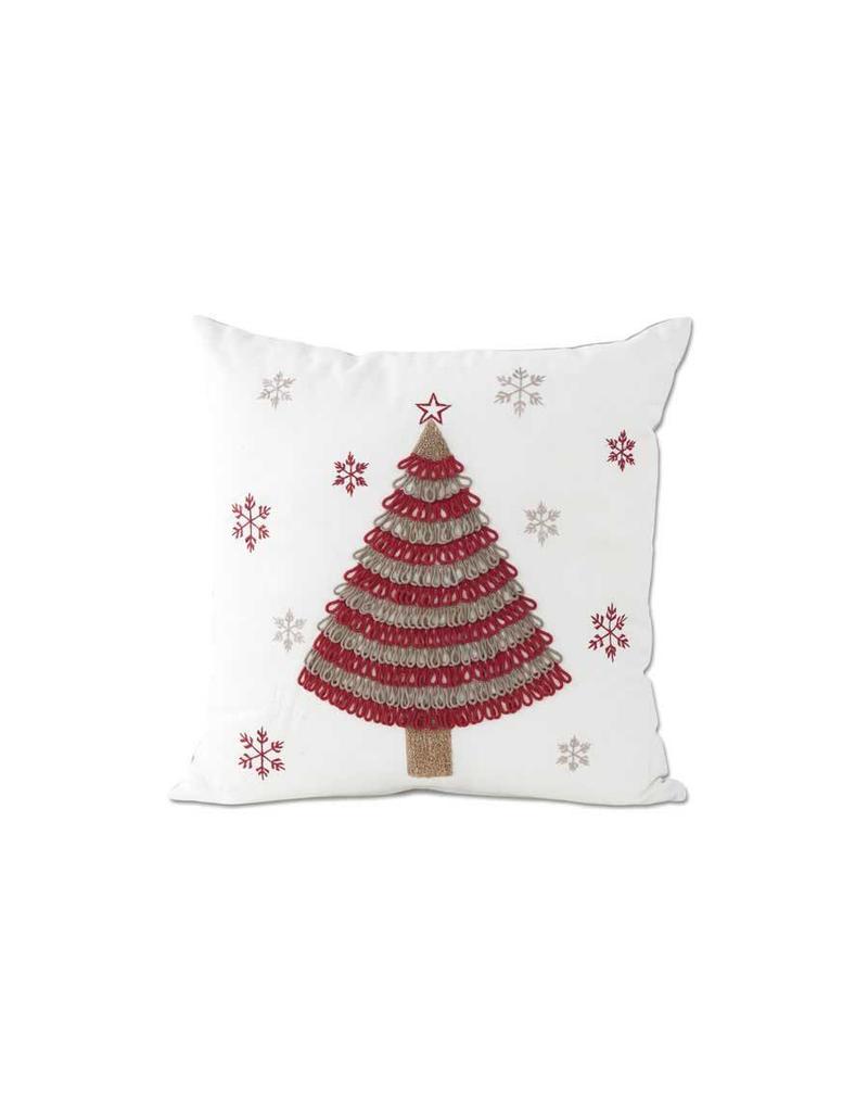 """K & K Interiors 16"""" Square White Canvas Pillow w/ Tree & Snowflakes"""