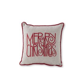 """K & K Interiors 11"""" Square Grey Canvas Pillow w/ Red Merry Christmas"""