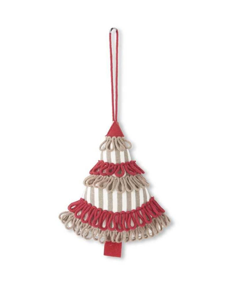 "K & K Interiors 5"" Natural & White Striped Canvas Tree Ornament w/ Red & Brown"