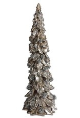 "A&B Floral 19.75"" Resin Holly/Pine Tree Silver/Champagne"