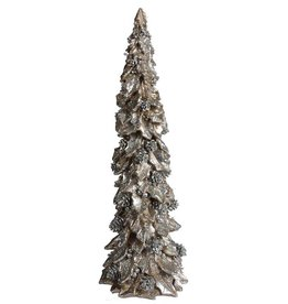 """A&B Floral 19.75"""" Resin Holly/Pine Tree Silver/Champagne"""