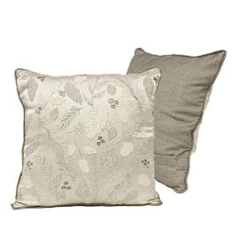 """A&B Floral 18"""" Sq Holly Berry Pine Pillow Black/Silver/Grey"""