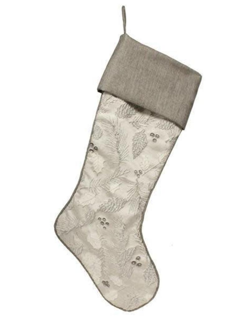"A&B Floral 24""L Holly/Berry/Pine Stocking Black/Silver/Grey"