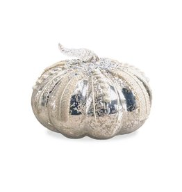 K & K Interiors Mercury Glass Pumpkin w/ Burlap Details