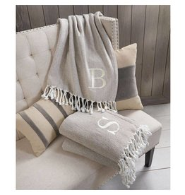 Mud Pie Initial Throw Blanket Beige