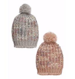 Ganz Knit Hat with Pom Pom Pink