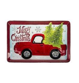 Ganz Santa's Ride Rectangular Glass Platter