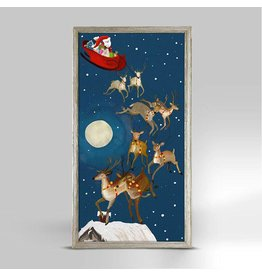 Greenbox Art 5x10 Embellished Canvas Winter Wonderland Santa's Sleigh