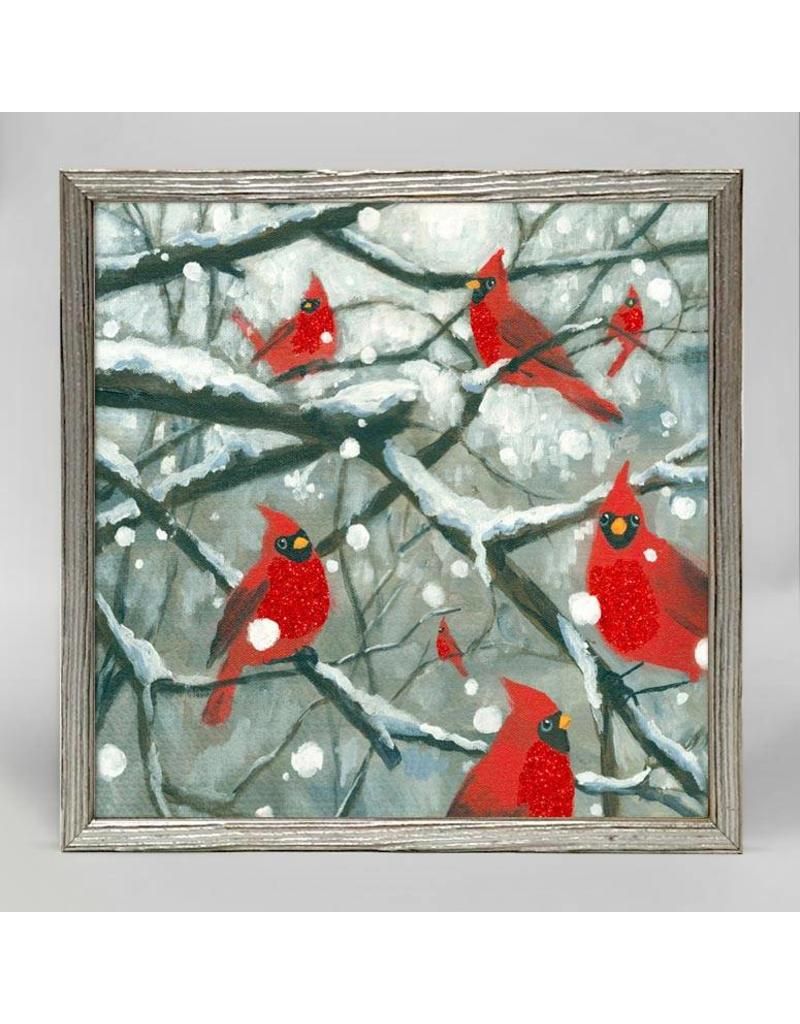 Greenbox Art 6x6 Embellished Canvas Cardinals on Snowy Branches