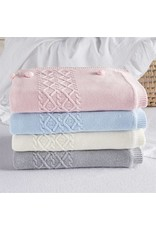 Cable Knit Blanket Pink