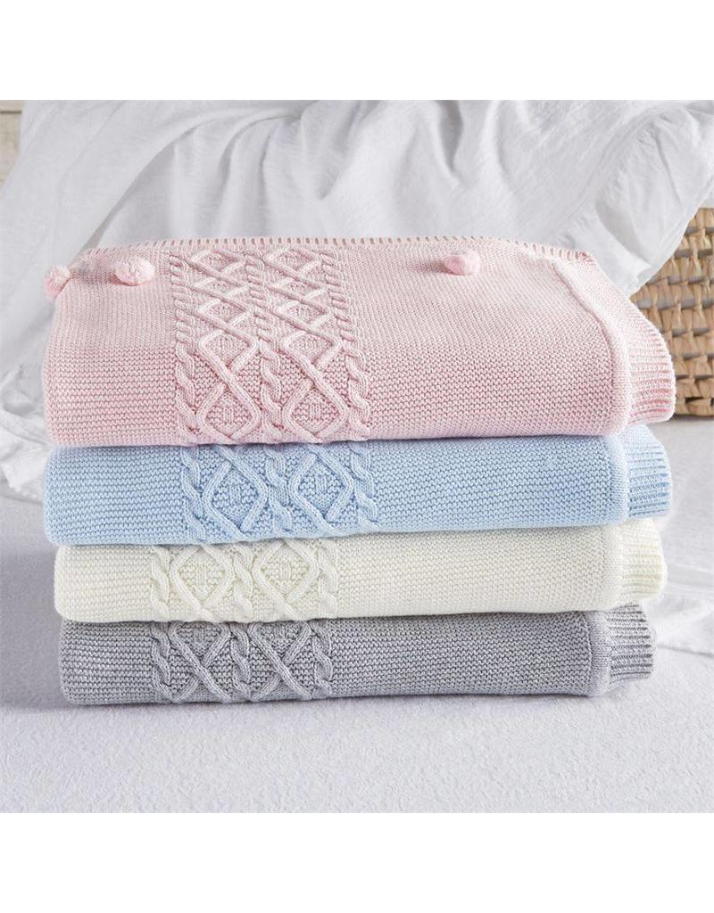 Mud Pie Cable Knit Blanket Cream