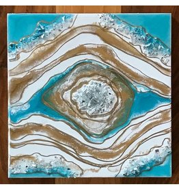 Kris Marks 8x8 Geode Painting Teal, White, & Gold