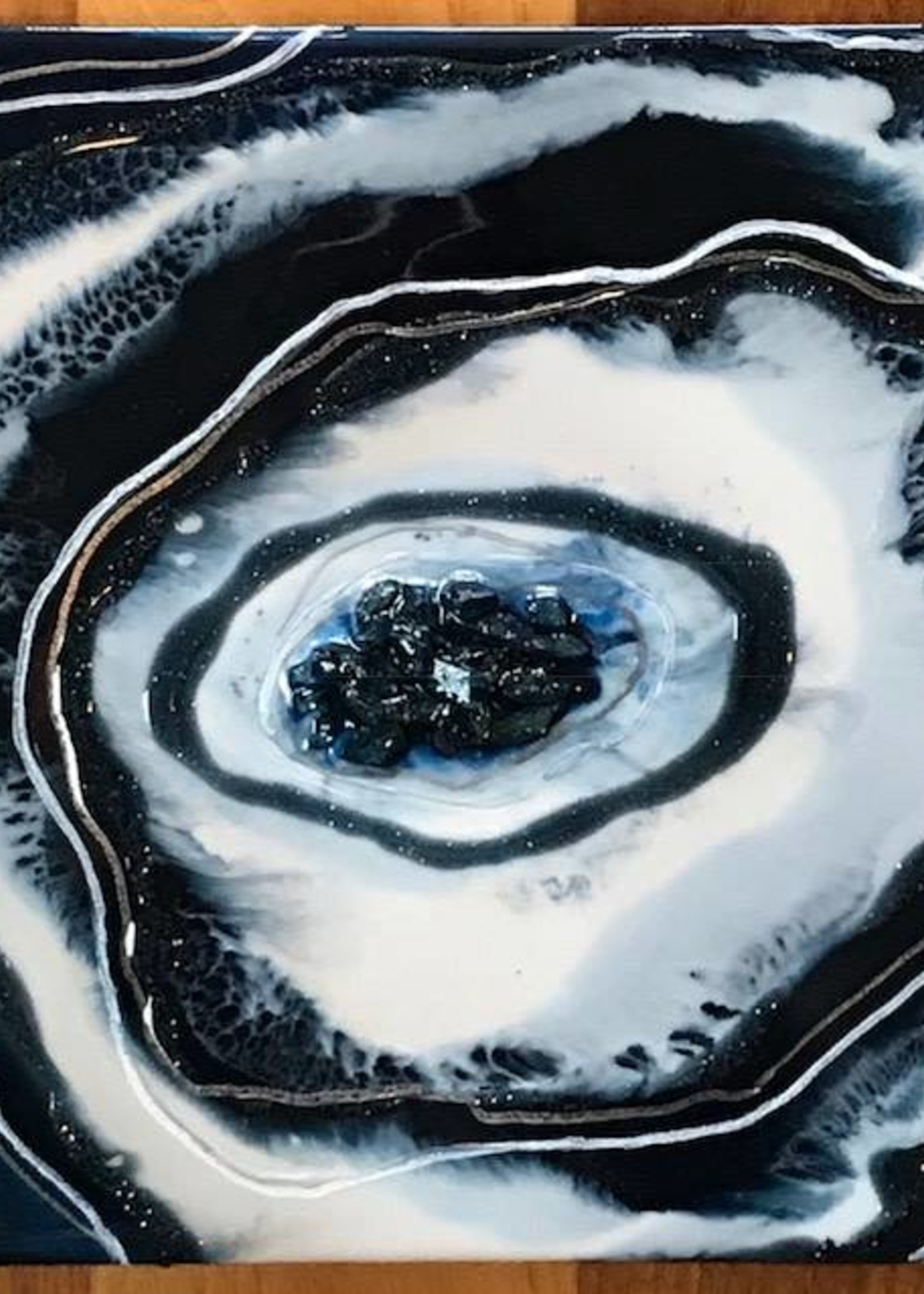 Kris Marks 8x8 Geode Painting Navy, Silver, & White
