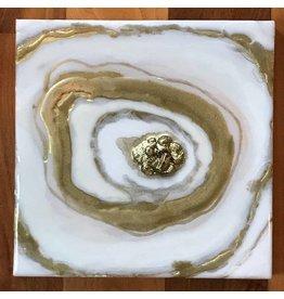 Kris Marks 8x8 Geode Painting Gold & White Circle