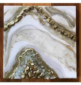 Kris Marks 8x8 Geode Painting Gold & White Arch