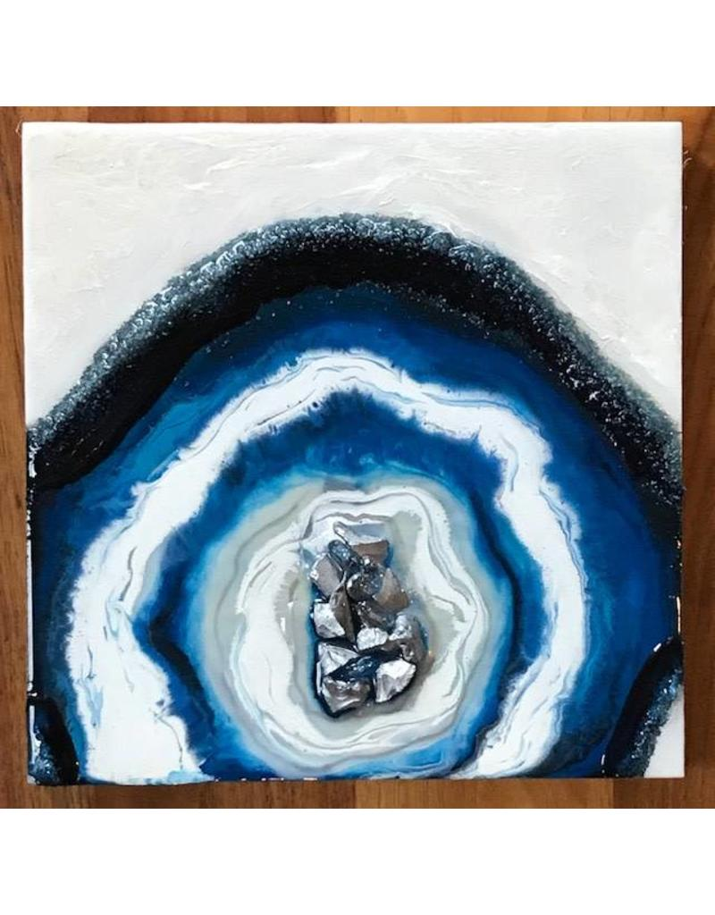 Kris Marks 8x8 Geode Painting Blue, White, & Silver
