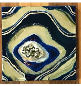 Kris Marks 8x8 Geode Painting Navy & Gold