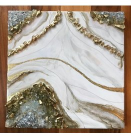 Kris Marks 12x12 Geode Painting Gold & White