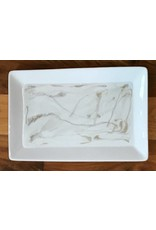 Kris Marks Ceramic Serving Tray with Marbled Resin Inlay