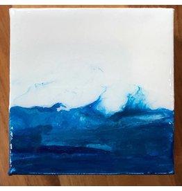 Kris Marks 4x4 Blue & White Resin Art Painting