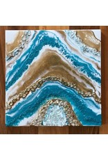 Kris Marks 10x10 Geode Painting Teal, Gold, & White