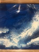 Kris Marks 12x12 Blue & White Resin Art Painting