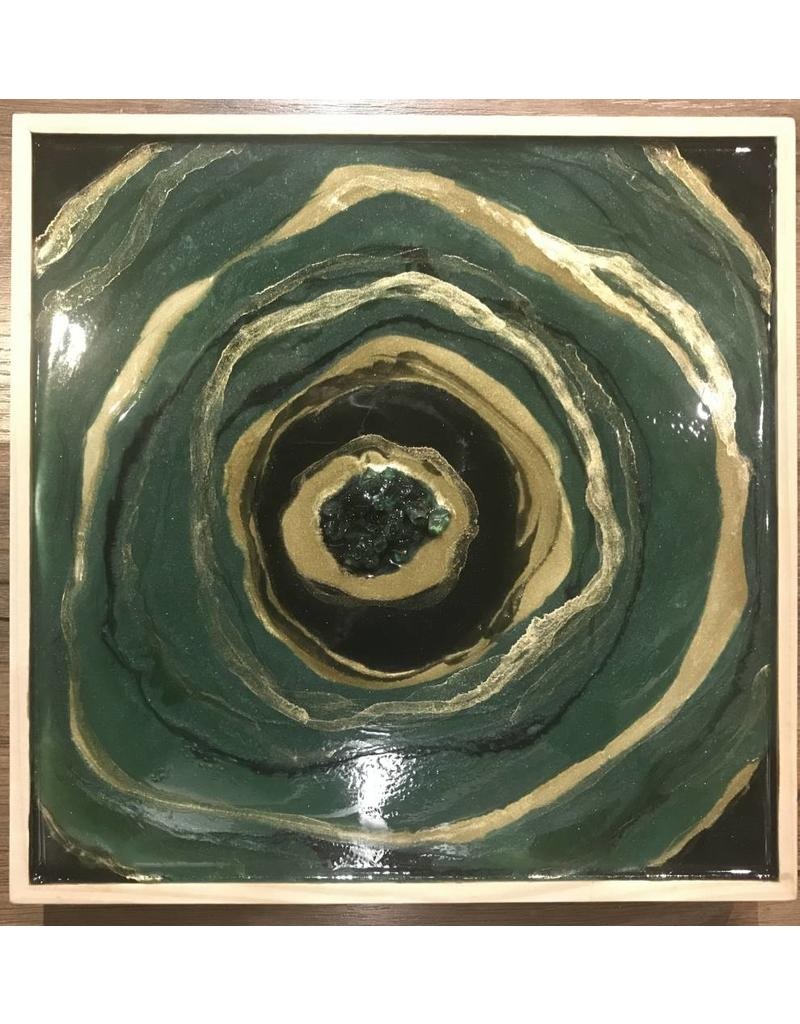 Kris Marks 10x10 Geode Painting Green & Gold