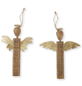 Mud Pie Gold Wood Angel Ornament Long Wings