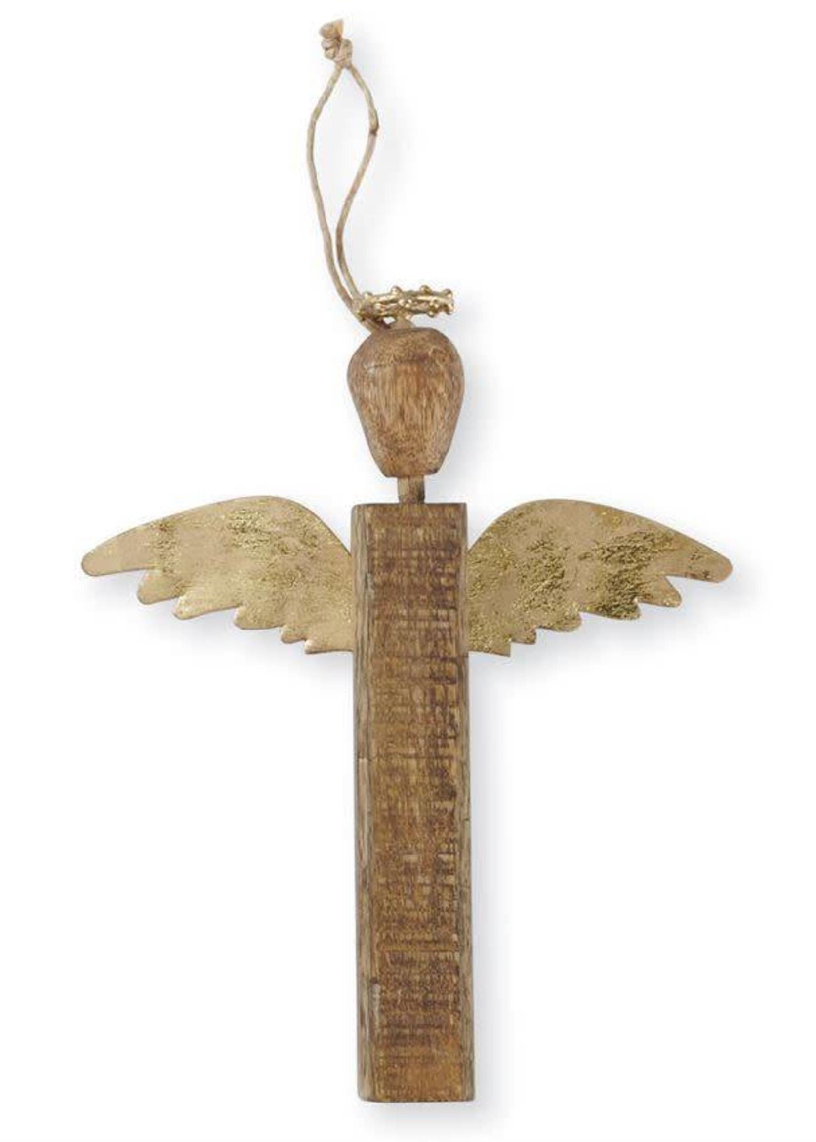 Mud Pie Gold Wood Angel Ornament Long Wings