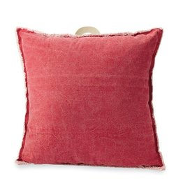 Mud Pie Red Washed Canvas Pillow