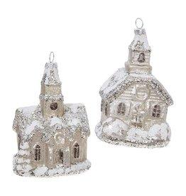 raz Glittered Church Ornament Silver