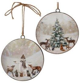 raz Snowman & Tree Disk Ornament