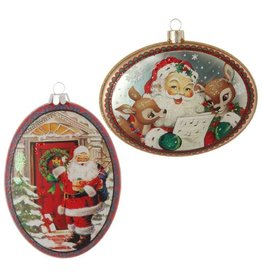 Raz Imports Santa Disk Oval Ornament