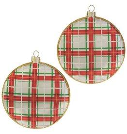 raz Plaid Santa Disk Ornament