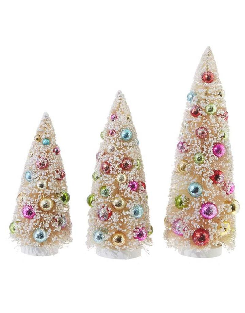 "Raz Imports 13.5"" Colorful Bottle Brush Tree Set/3"
