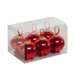 "K & K Interiors 3"" Red Jingle Bell Place Card Holder Set of 6"