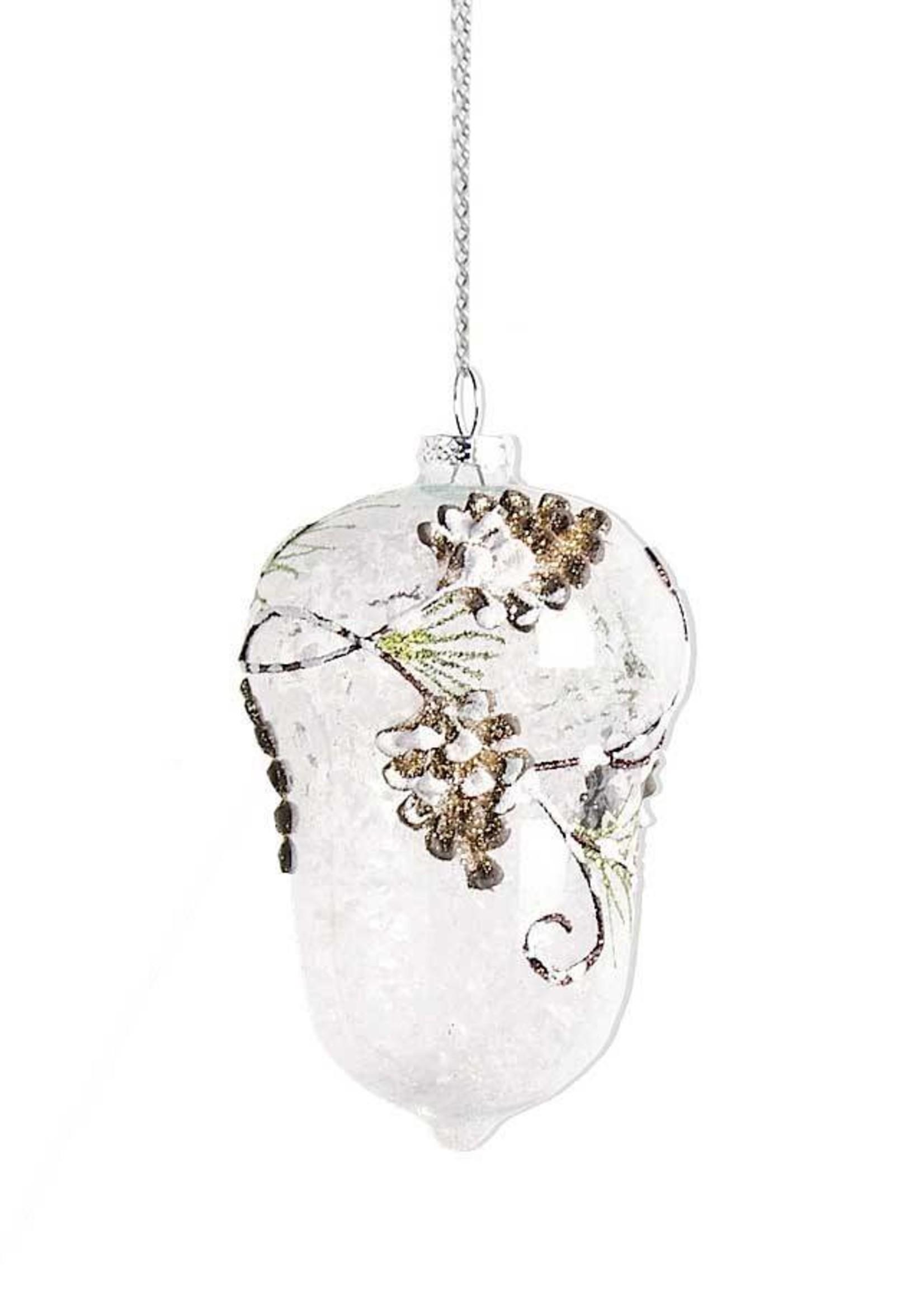 "K & K Interiors 6"" Clear Glass Acorn w/ Pinecone & Evergreen Detail"