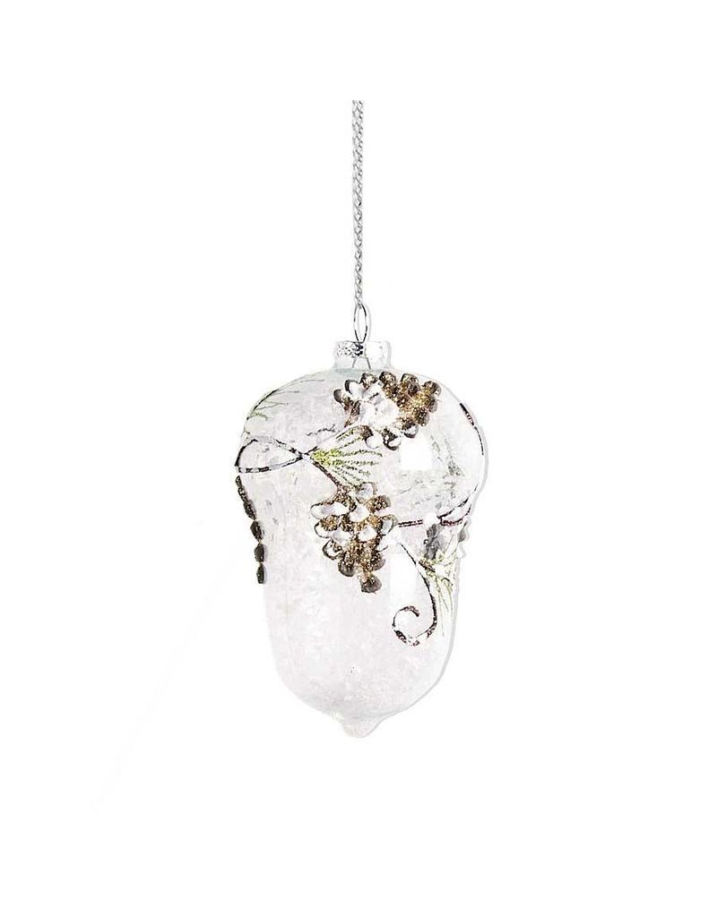 "K & K Interiors 6"" Clear Glass Acorn w/ Pinecone & Evergreen Detail"