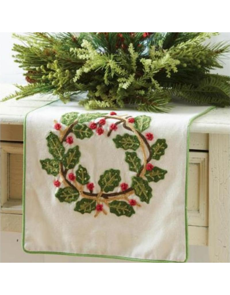 """K & K Interiors 72"""" Linen Table Runner w/ Embroidered Holly Wreath"""