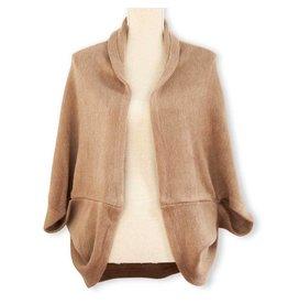 K & K Interiors Khaki Brown 100% Acrylic Knit Cozy Shrug Cape