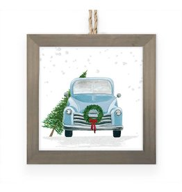 Greenbox Art Vintage Truck w/ Wreath Embellished Framed Ornament