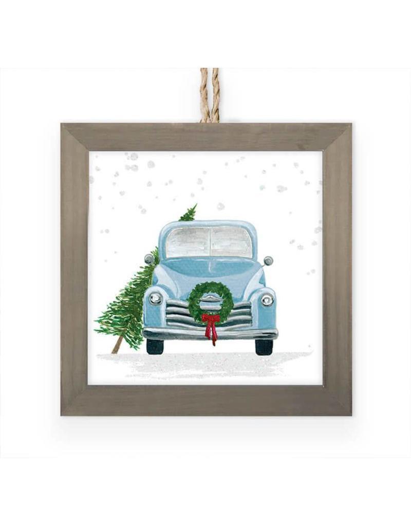 Greenbox Art Vintage Truck w/ Wreath Embellished Framed Ornament
