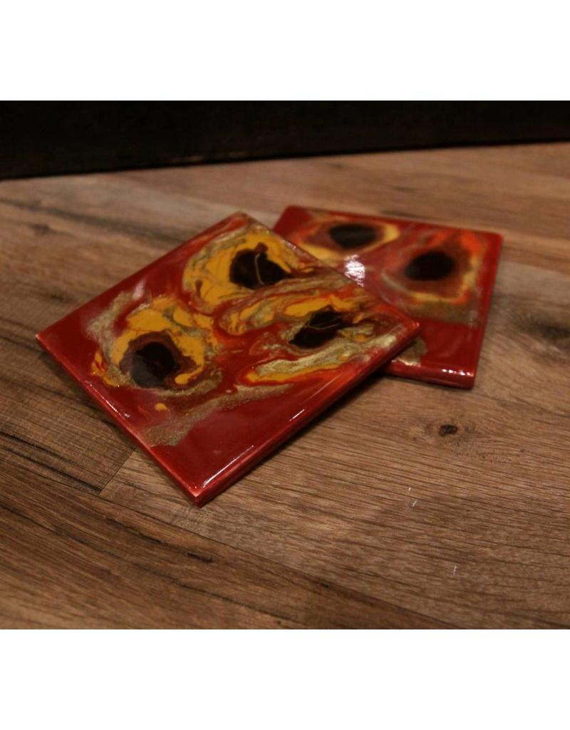 Kris Marks 4x4 Square Coaster set/2 Red, Black, & Orange
