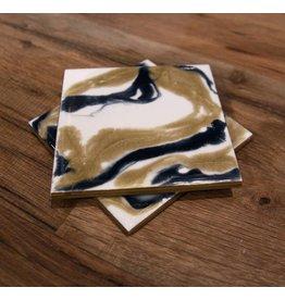 Kris Marks 4x4 Square Coaster set/2 Blue, White & Gold